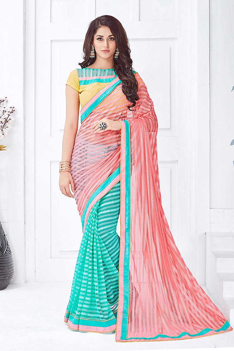 Party Wear Peach & Turquoise  Net  Saree  - 81676