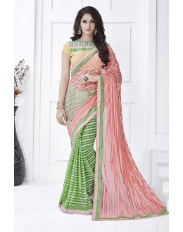 Ethanic Wear Peach & Green Net  Saree  - 81677