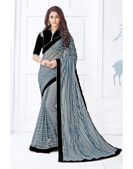 Festival Wear Grey Net Printed Saree  - 81678