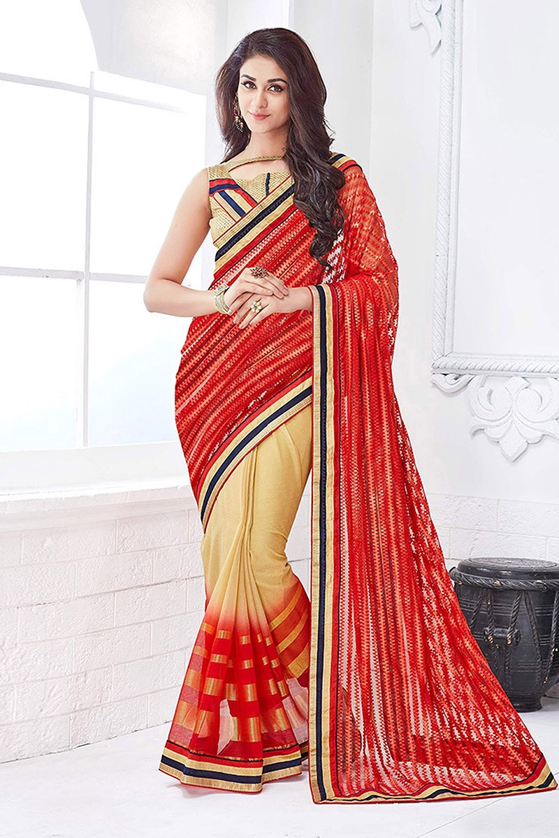 Wedding Wear Red & Beige Net Saree  - 81679
