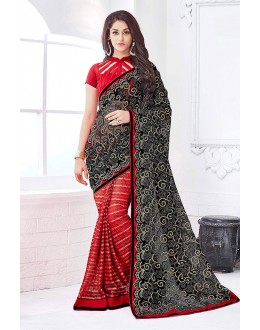 Ethanic Wear Black & Red Net Saree  - 81680