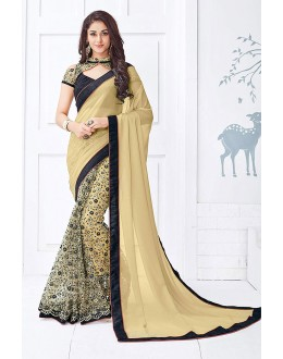Party Wear Beige Georgette & Net Saree  - 81681