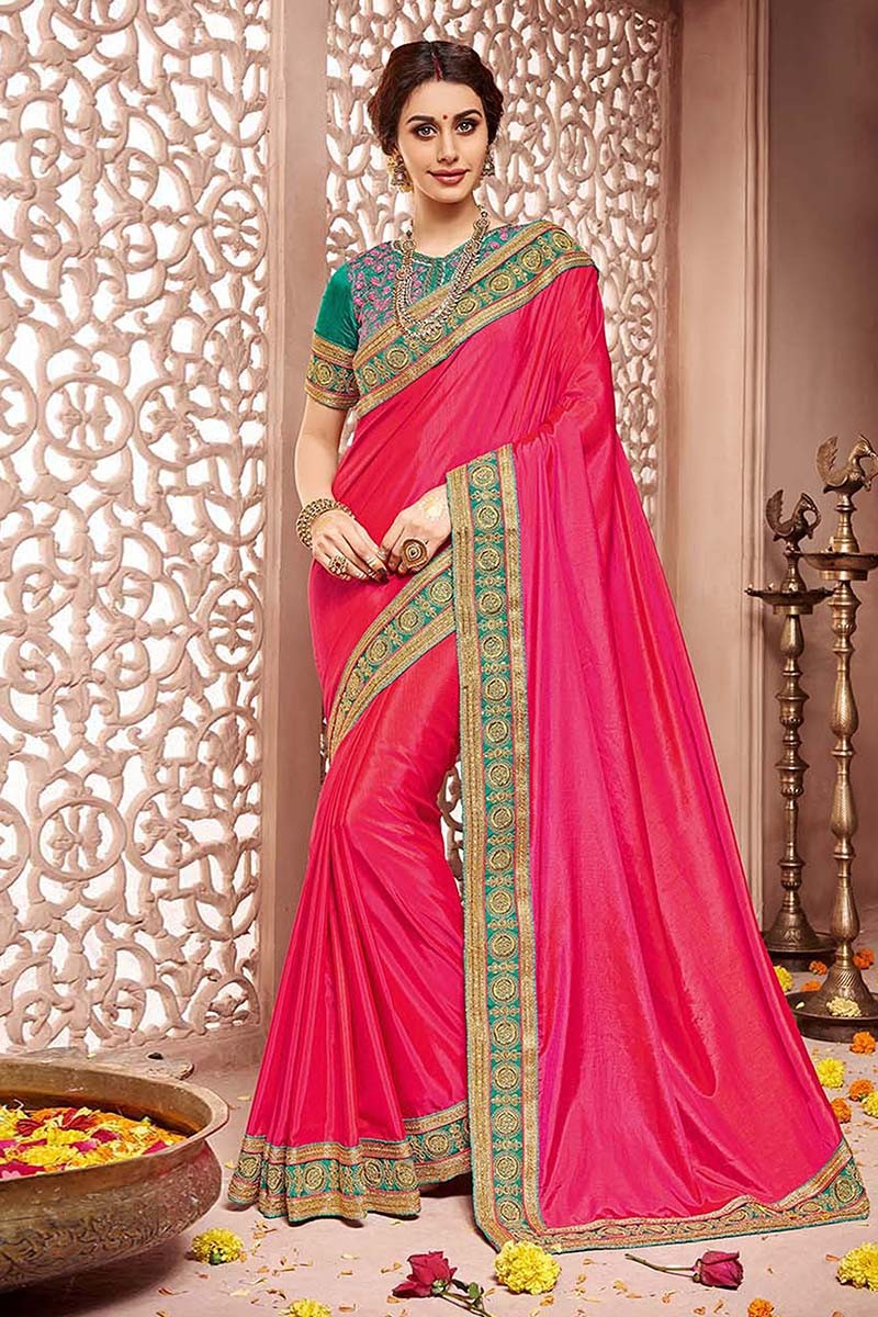 Festival Wear Pink Silk Saree  - 81683