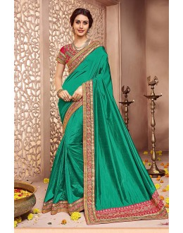 Wedding Wear Green Silk Saree  - 81684