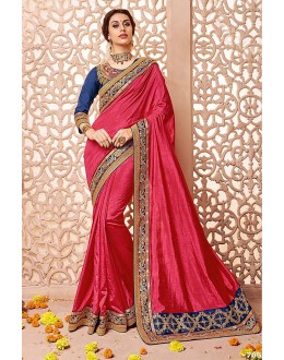 Party Wear Pink Silk Saree  - 81687