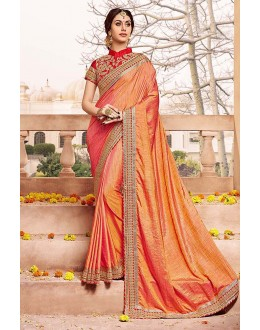 Festival Wear Peach Silk Saree  - 81689