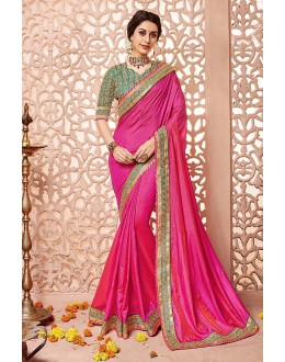Wedding Wear Pink Silk Saree  - 81690