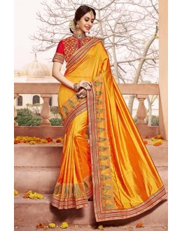 Casual Wear Yellow Silk Saree  - 81691