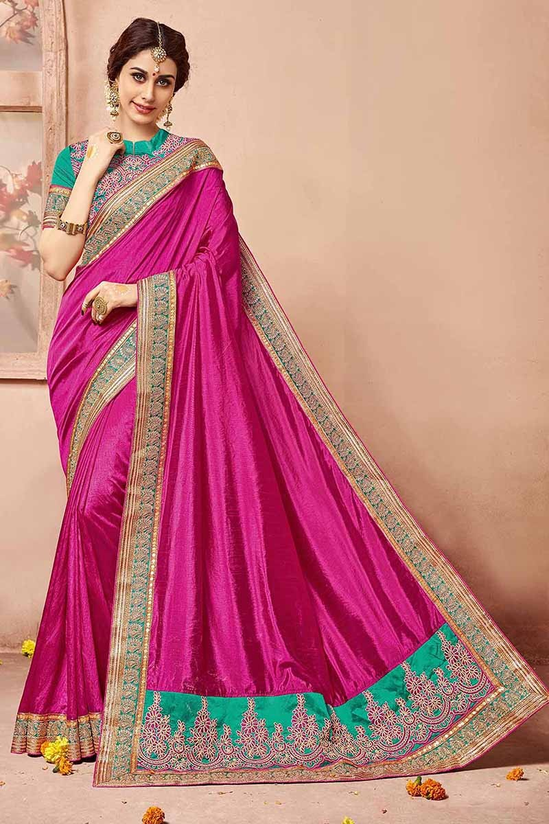 Festival Wear Pink Silk Saree  - 81692