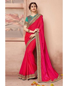 Party Wear Pink Silk Saree  - 81693