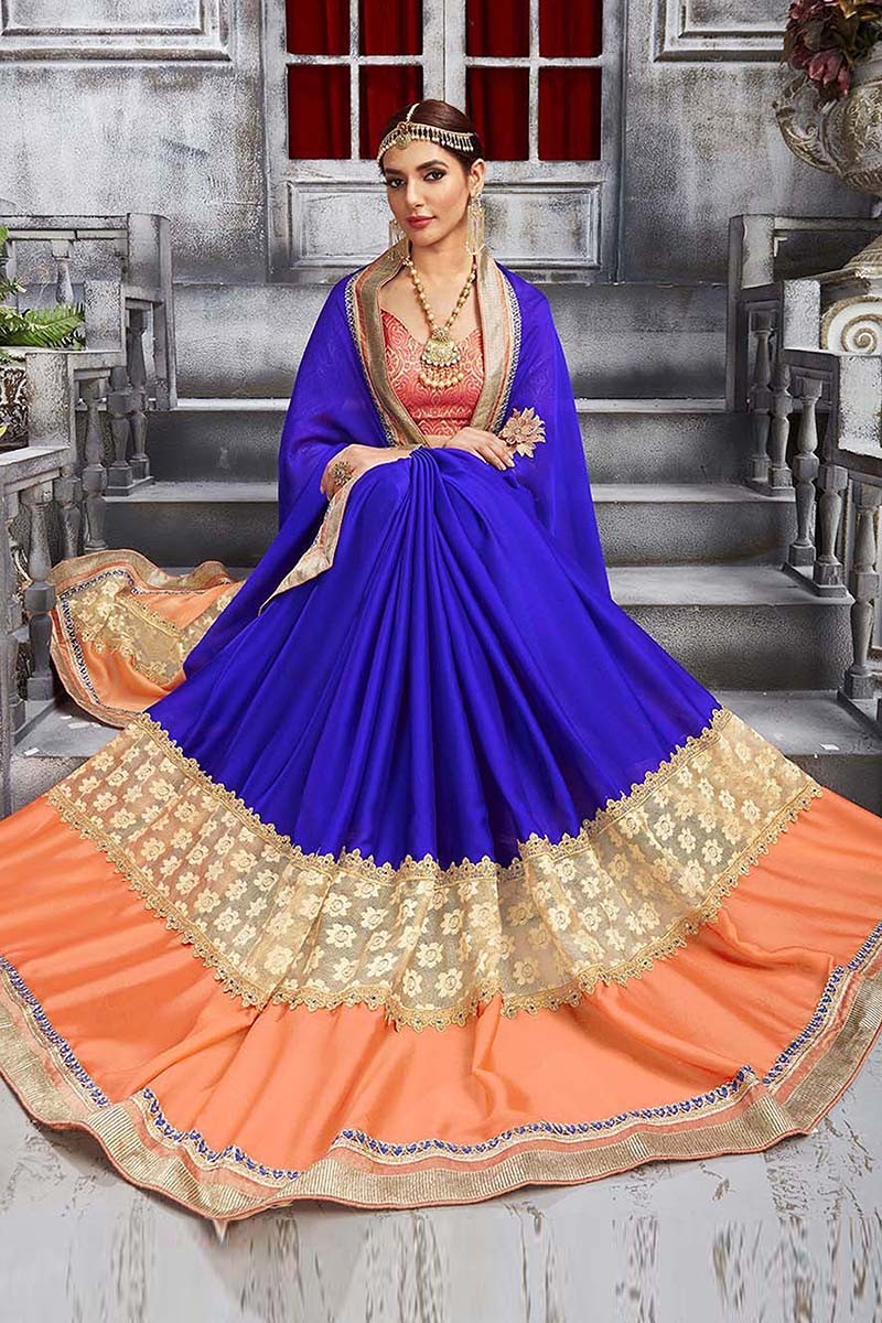 Wedding Wear Blue & Orange Chiffon & Rasal Saree  - 81698