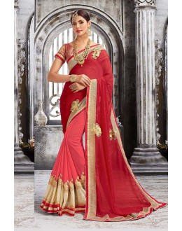 Party  Wear Red & Peach Georgette Saree  - 81699