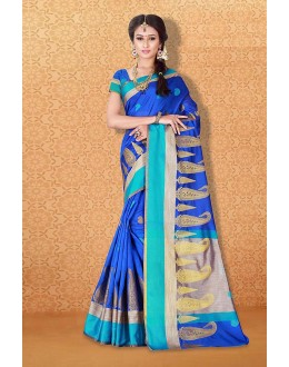 Tradional Wear Blue Banarasi Silk Saree  - 81711