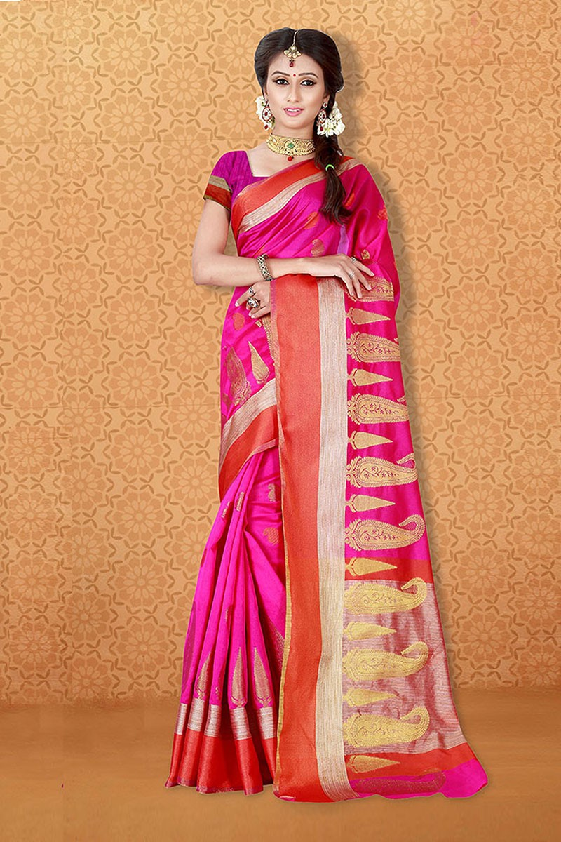 Festival Wear Pink Banarasi Silk Saree  - 81712