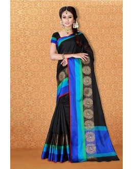 Casual Wear Black Banarasi Silk Saree  - 81713