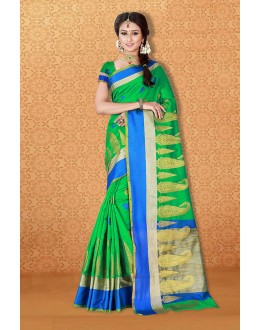 Party Wear Green Banarasi Silk Saree  - 81714