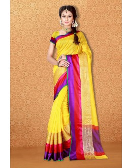Ethanic Wear Yellow Banarasi Silk Saree  - 81715