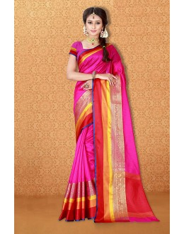 Festival Wear Pink Banarasi Silk Saree  - 81716