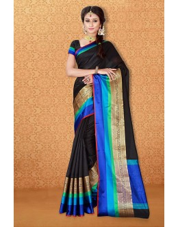 Party Wear Black Banarasi Silk Saree  - 81717
