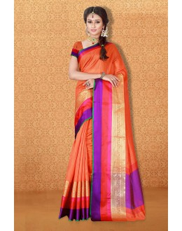 Tradional Wear Orange Banarasi Silk Saree  - 81718