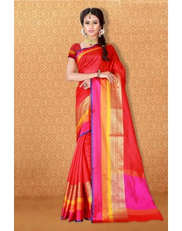 Party Wear Red Banarasi Silk Saree  - 81719