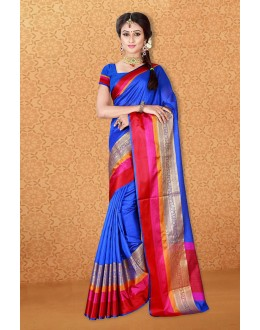 Traditional Wear Blue Banarasi Silk Saree  - 81722