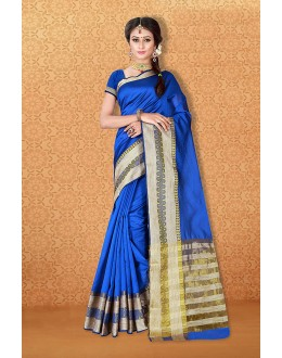 Casual Wear Blue Banarasi Silk Saree  - 81727