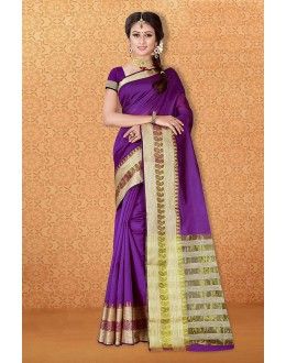Ethanic Wear Purple Banarasi Silk Saree  - 81728