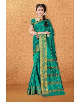 Party Wear Green Banarasi Silk Saree  - 81729