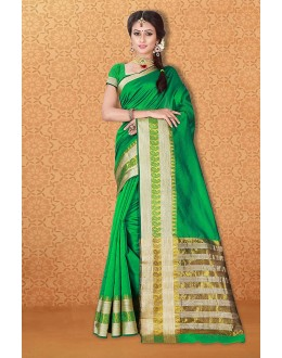 Festival Wear Green Banarasi Silk Saree  - 81730