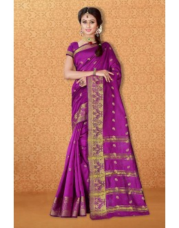Wedding Wear Magenta Banarasi Silk Saree  - 81731