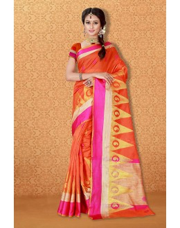 Festival Wear Orange Banarasi Silk Saree  - 81732