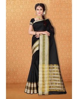 Traditional Wear Black Banarasi Silk Saree  - 81733