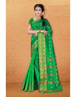 Casual Wear Green Banarasi Silk Saree  - 81735