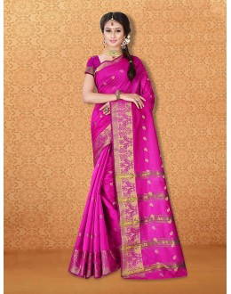 Party Wear Pink Banarasi Silk Saree  - 81736