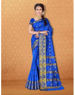 Wedding Wear Blue Banarasi Silk Saree  - 81737