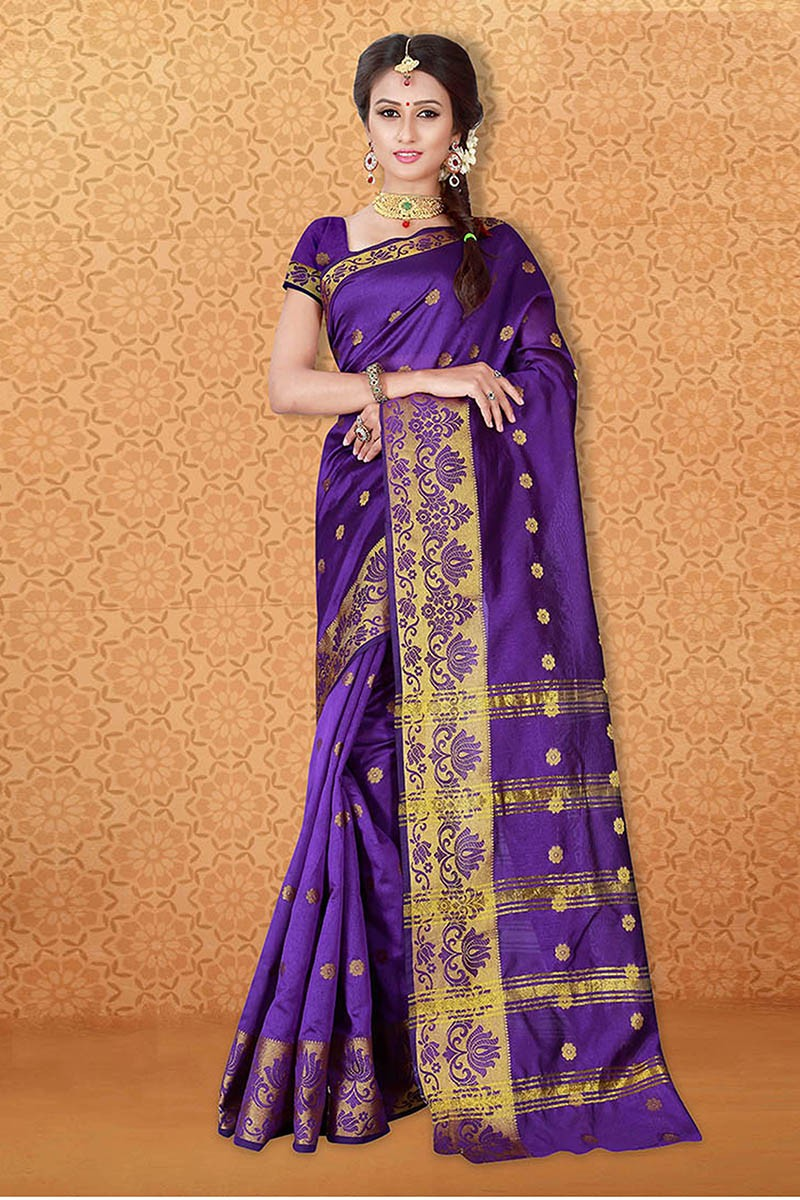 Ethanic Wear Purple Banarasi Silk Saree  - 81739