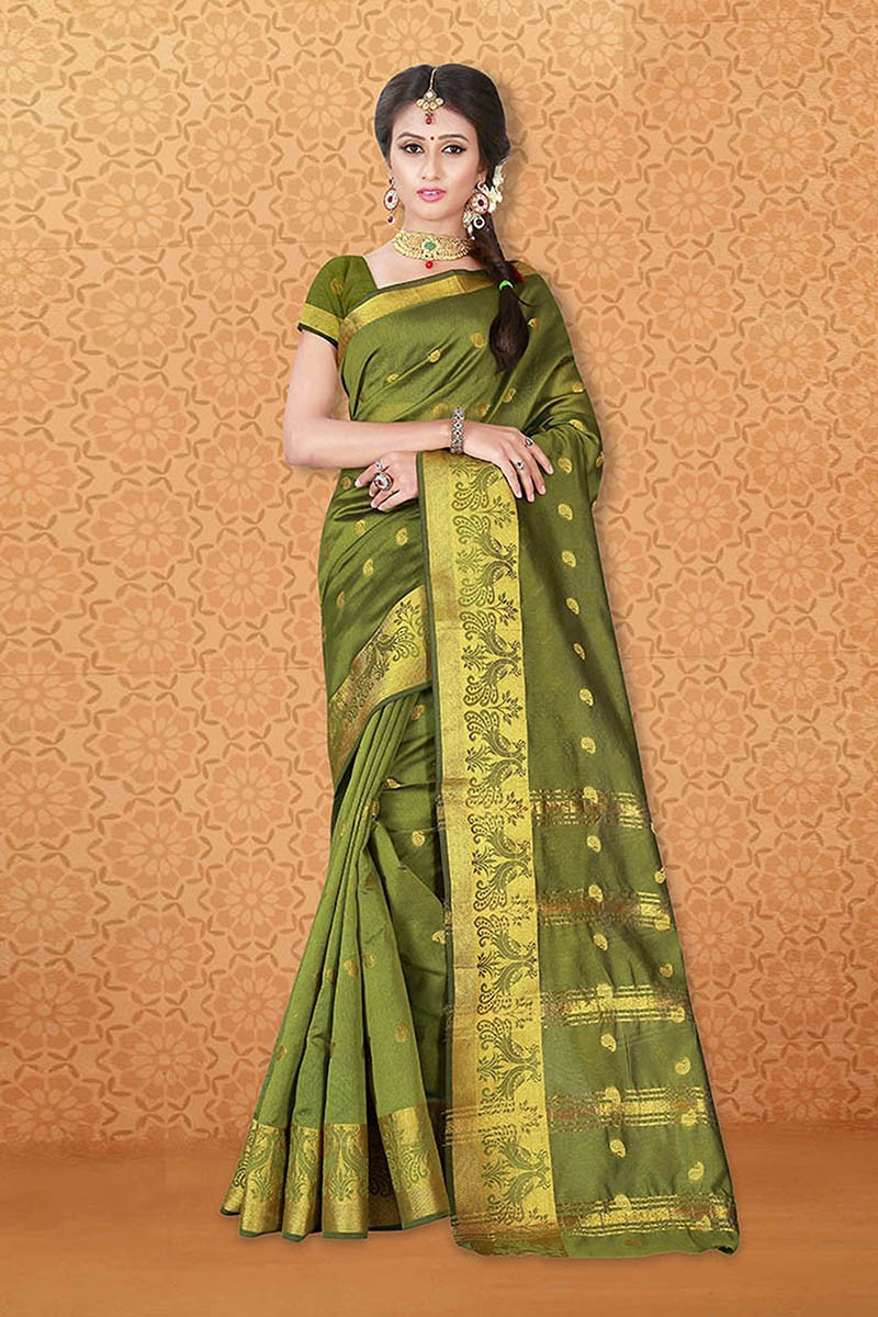Festival Wear Green Banarasi Silk Saree  - 81740