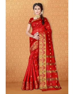 Traditional Wear Red Banarasi Silk Saree  - 81742