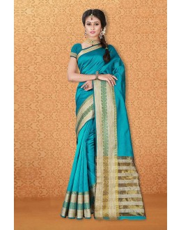 Party Wear Sky Blue Banarasi Silk Saree  - 81744