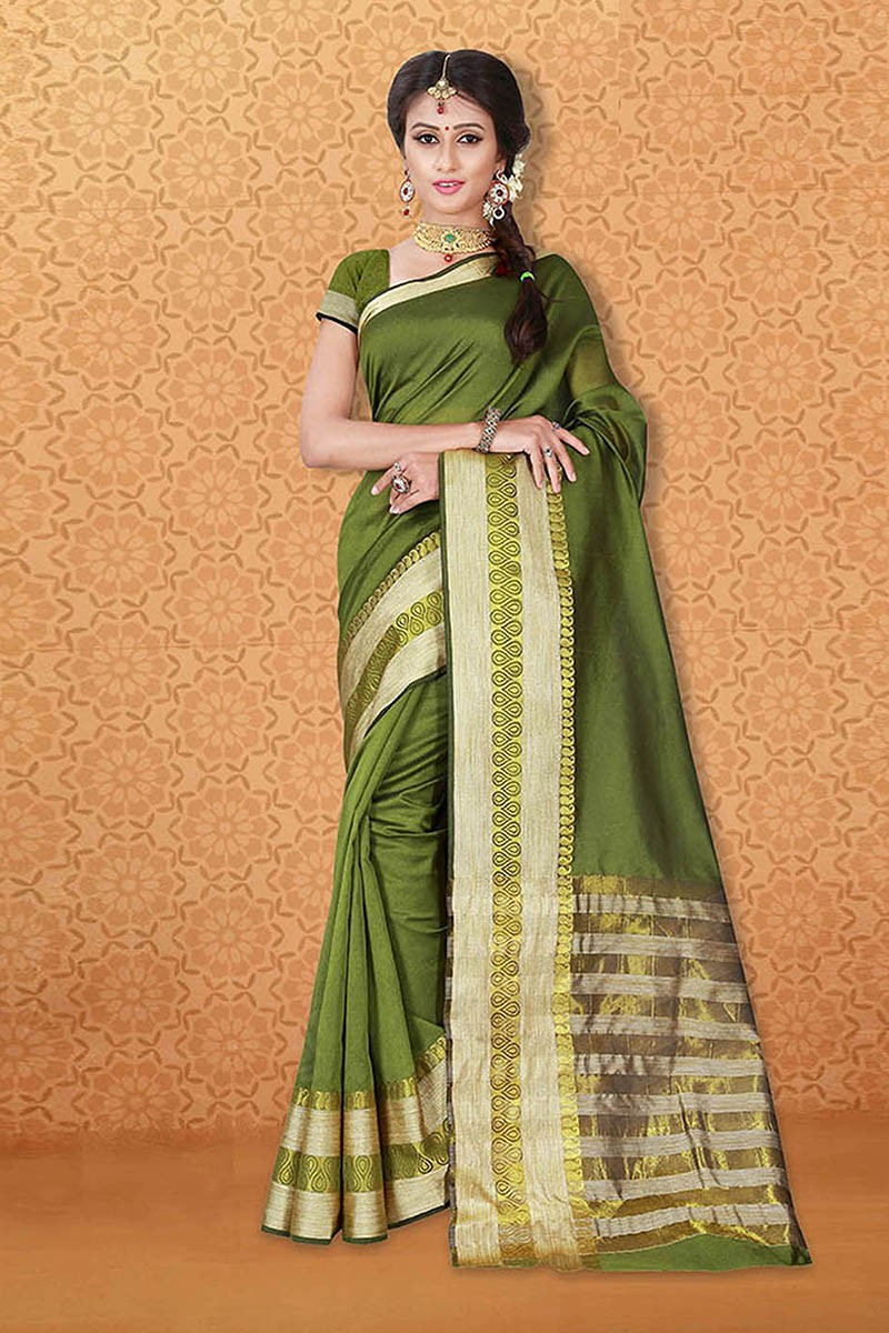 Casual Wear Green Banarasi Silk Saree  - 81745