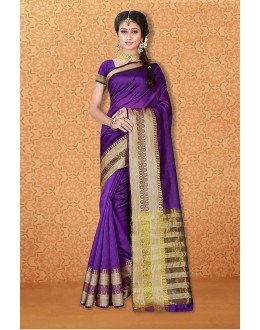 Wedding Wear Purple Banarasi Silk Saree  - 81746