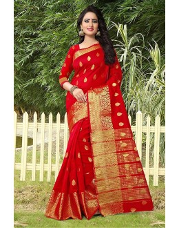 Festival Wear Red Banarasi Silk Saree  - 81749