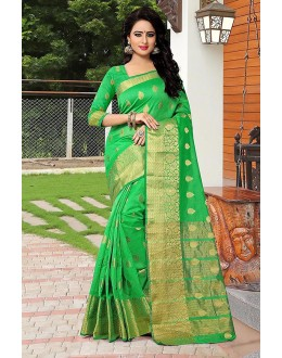Party Wear Green Banarasi Silk Saree  - 81750