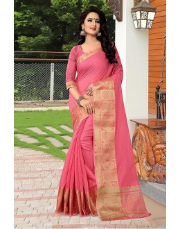Casual Wear Pink Banarasi Silk Saree  - 81751
