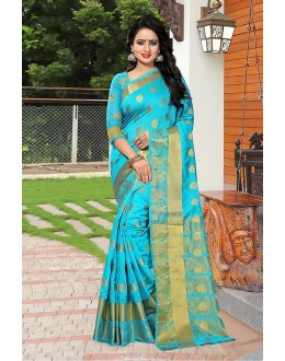 Fetival Wear Sky Blue Banarasi Silk Saree  - 81752