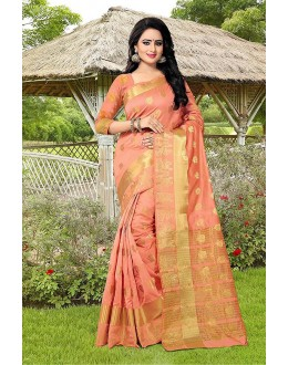 Party Wear Peach Banarasi Silk Saree  - 81753