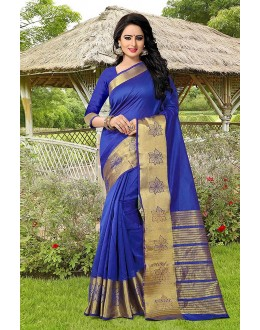 Wedding Wear Blue Banarasi Silk Saree  - 81754