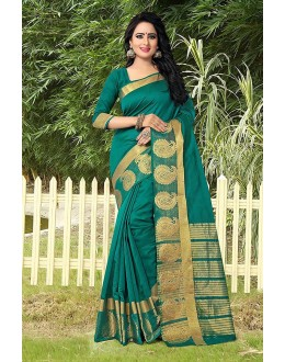 Traditional Wear Green Banarasi Silk Saree  - 81755