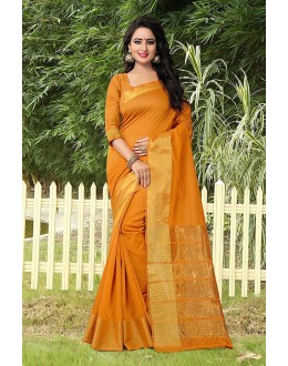 Casual Wear Mustard Banarasi Silk Saree  - 81756